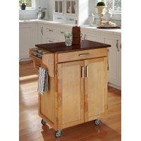Cuisine Cart Natural Finish with Cherry Top