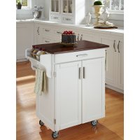 Cuisine Cart White Finish with Cherry Top - Create-a-Cart