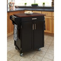 Cuisine Cart Black Finish with Cherry Top - Create-a-Cart