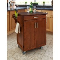 Cuisine Cart Warm Oak Finish with Cherry Top - Create-a-Cart