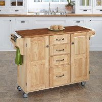 Natural Finish with Oak Top Kitchen Cart - Create-a-Cart