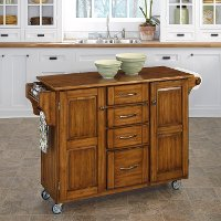 Warm Oak Finish with Oak Top Kitchen Cart - Create-A-Cart