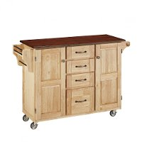 Natural Finish with Cherry Top Kitchen Cart - Create-A-Cart