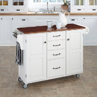 White Finish with Cherry Top Kitchen Cart - Create-A-Cart