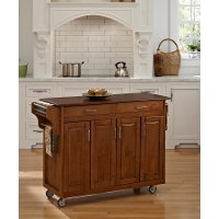 Warm Oak Finish with Cherry Top Kitchen Cart - Create-A-Cart