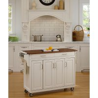Off White Kitchen Cart with Warm Oak Finish Top - Create-A-Cart
