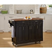 Black Finish with Oak Top Kitchen Cart - Create-A-Cart