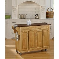 Natural Kitchen Cart with Cherry Finish Top - Create-A-Cart