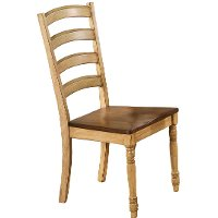 Light Brown Two Tone Ladder Back Dining Room Chair - Quails Run Collection