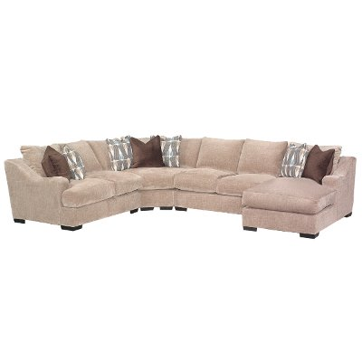 Casual Brown 4 Piece Sectional Sofa   Monarch