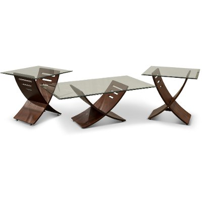 Espresso Brown Glass 3 Piece Coffee Table Set RC Willey