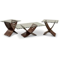 Espresso Brown and Glass 3 Piece Coffee Table Set