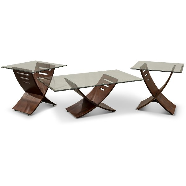 ... Espresso Brown And Glass 3 Piece Coffee Table Set