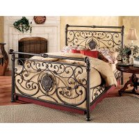 1039BQR Antique Brown Queen Metal Bed - Mercer