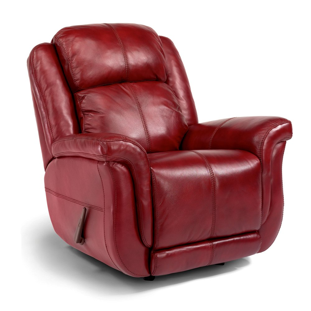 Club chair recliner -  Red Leather Match Manual Rocker Recliner Brookings