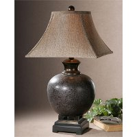Rust Brown Table Lamp with Black Accents