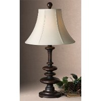 Heavily Burnished Rustic Brown Table Lamp