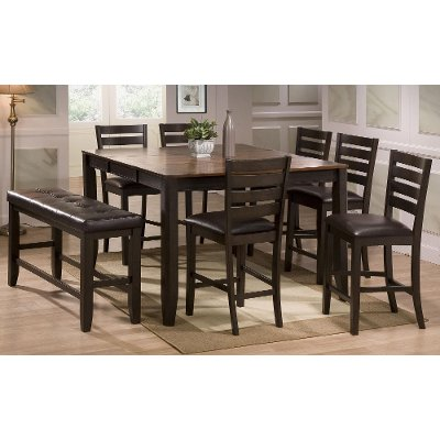 Dark Brown 6 Piece Counter Height Dining Set   Transitional Elliott  Collection