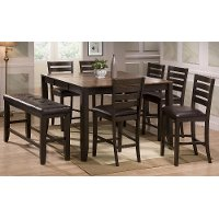 Transitional Dark Brown 6 Piece Counter Height Dining Set - Elliott