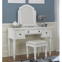 White Vanity and Bench - Bermuda