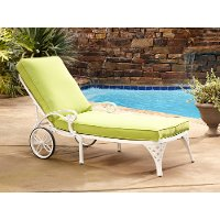White Chaise Outdoor Lounge Chair with Green Apple Cushion - Biscayne