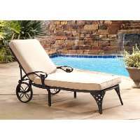 Black Chaise Outdoor Lounge Chair with Taupe Cushion  - Biscayne