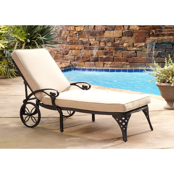 ... Black Chaise Outdoor Lounge Chair With Taupe Cushion   Biscayne