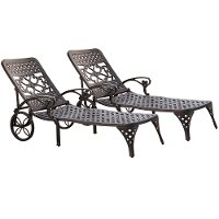 Two Black Chaise Outdoor Lounge Chairs - Biscayne