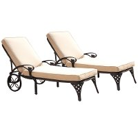 Two Black Chaise Outdoor Lounge Chairs with Cushions - Biscayne