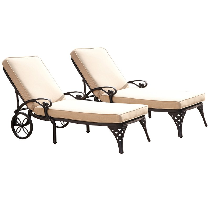 Two Black Chaise Outdoor Lounge Chairs With Cushions Biscayne