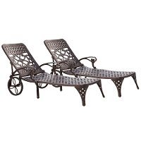 Two Bronze Chaise Outdoor Lounge Chairs - Biscayne