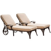 Two Bronze Chaise Outdoor Lounge Chairs with Cushions - Biscayne