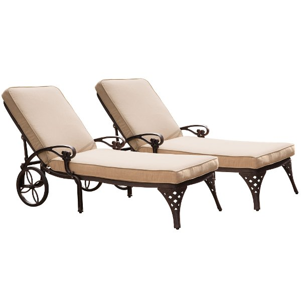 Two Bronze Chaise Outdoor Lounge Chairs With Cushions Biscayne