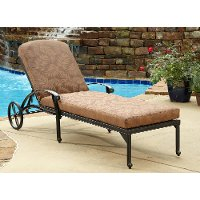 Charcoal Chaise Outdoor Lounge Chair with Cushion - Floral Blossom