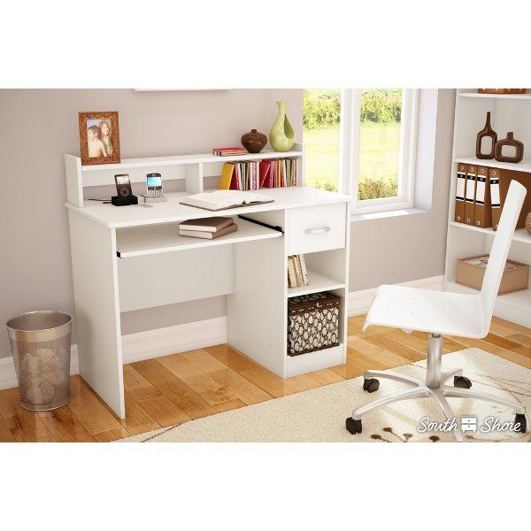 7250076c Pure White Small Desk With Keyboard Tray As