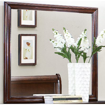 Mayville Brown Cherry Traditional Mirror