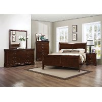 Traditional Brown Cherry 4 Piece Queen Bedroom Set - Mayville