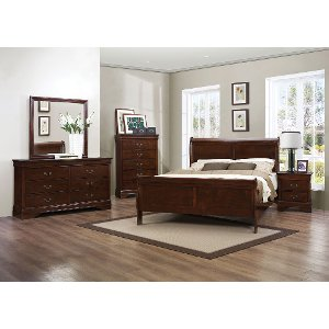 Brown Cherry Traditional 6 Piece King Bedroom Set Mayville