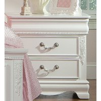 Traditional White 2 Drawer Nightstand   Jessica