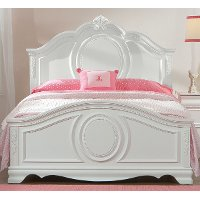White Traditional Twin Bed - Jessica
