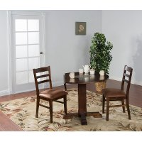 Chocolate Drop Leaf Round Dining Table - Santa Fe
