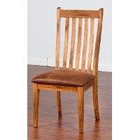 Rustic Oak Upholstered Side Chair - Sedona