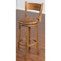 Rustic Brown 30 Inch Swivel Bar Stool with Back - Sedona