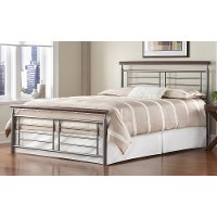 B1197-4 Silver & Cherry Full Metal Bed - Fontane