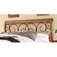 B92D0-5 Brown & Honey Oak Queen Headboard - Dunhill