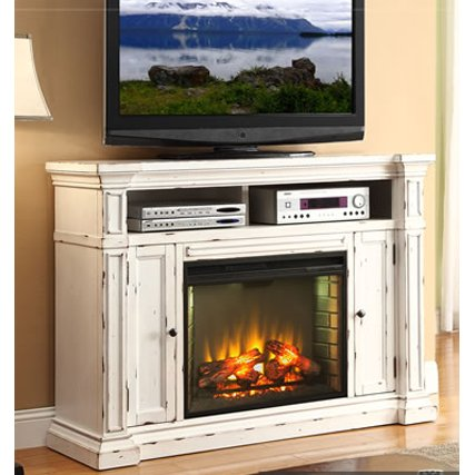... 58 Inch Antique White Fireplace Console   New Castle ...