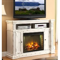 58 Inch Antique White Fireplace Console - New Castle