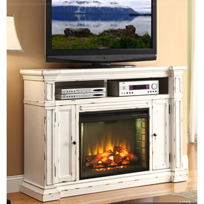 58 Inch Antique White Fireplace Console   New Castle