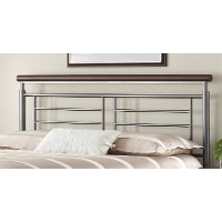 B1297-4 Metal Silver & Cherry Full Headboard - Fontane