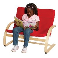 Red Kids' Loveseat - Upholstered Rockers